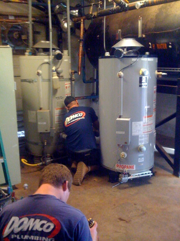 domco plumbers replacing residential commercial water heater
